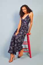 Zaneta Summer Navy Print with Shoestring Strap