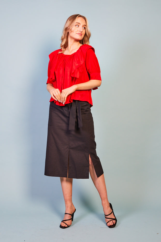Barbara Ruffle Front Red Blouse Top