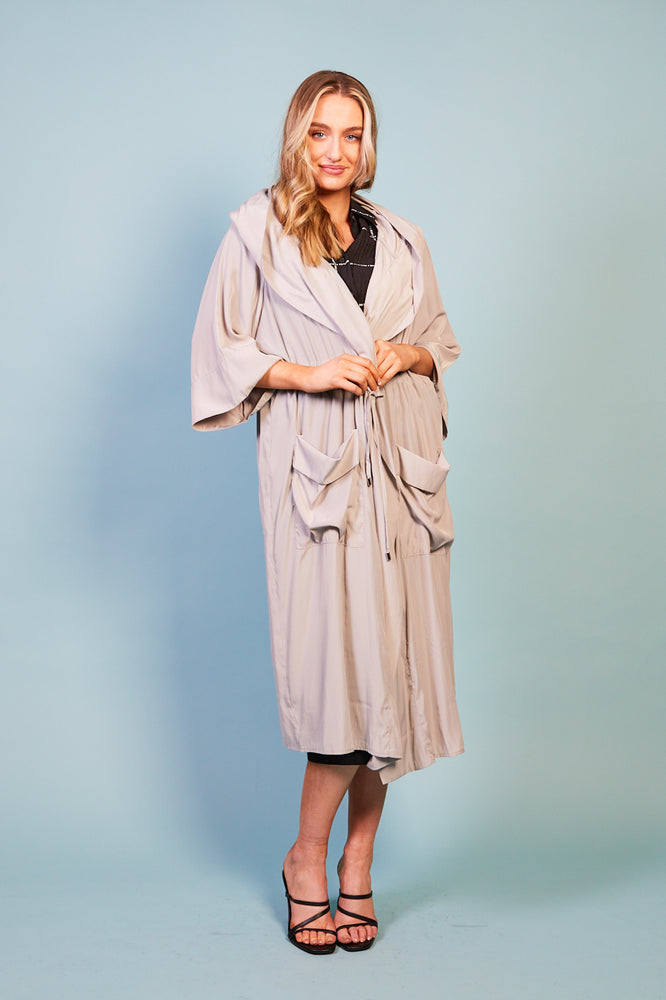 Marcella Drawstring Lightweight Coat With Patch Pocket