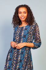 Amelia Printed Dress - Navy