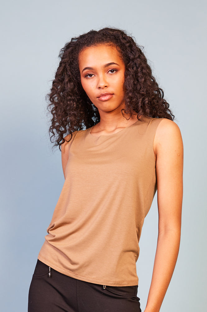 Alessia Sleevless Top - Brown