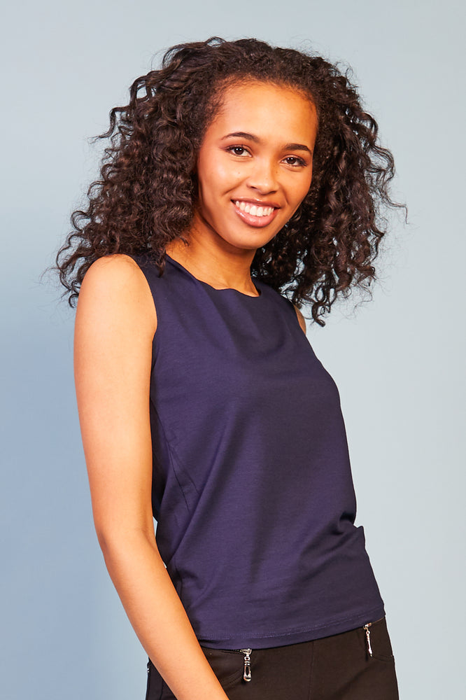 Alessia Sleevless Top - Navy