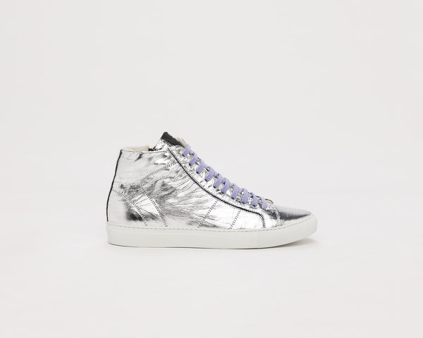P448 STAR2.0 High-Top Sneaker in Silver Metallic