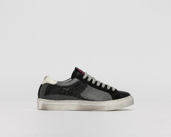 Kid's P448 John-JR Sneaker in Black Glitter