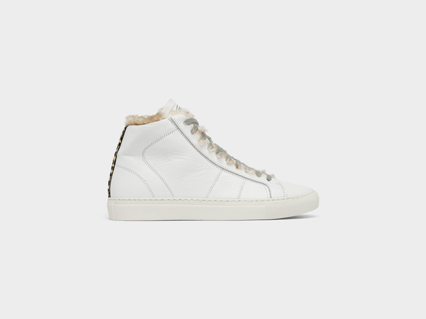 Women's P448 Star2.0Fur High-Top Sneaker in White