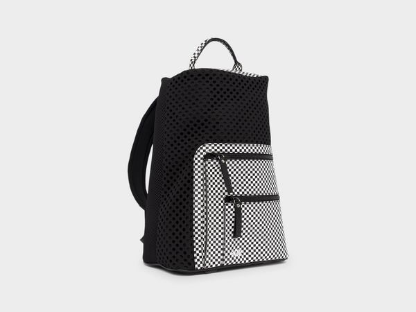 Bill in White/Check Backpack