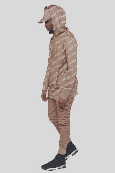 Camel Set : Joggers + Hoodie + Hat - 'Longue Story' (Men)