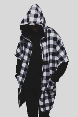 Short Sleeve Flannel Asymmetrical Hoodie Nelti C. 'Enfant de la Street' (Men)