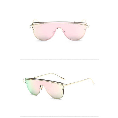 Retro Metal Sunglasses 2018 Oversized Woman Vintage Sun glasses Female Siamese Frame Oversize Glasses Ocean Mirror Eyewear UV400