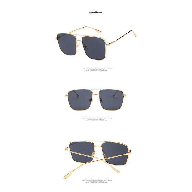 Manchester - Metal Square Frame Black Sunglasses