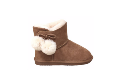 Child Chestnut PomPom Sheepskin Boot - CLOUD NINE - Shoe Size Kid 6-7, 8-9, 10-11, 12-13, 1, 2, 3, 4