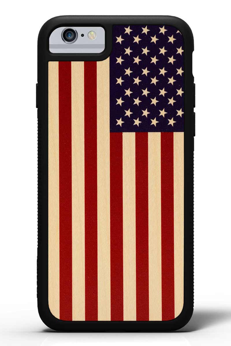 iPhone 6s - USA Flag - Black Traveler Protective Wood Case