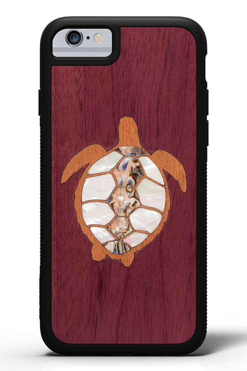 iPhone 6s - Turtle Inlay - Black Traveler Protective Seashell Case