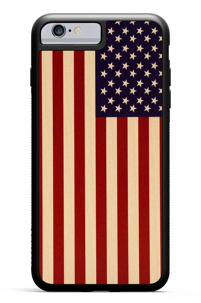 iPhone 6s Plus - USA Flag - Black Traveler Protective Wood Case