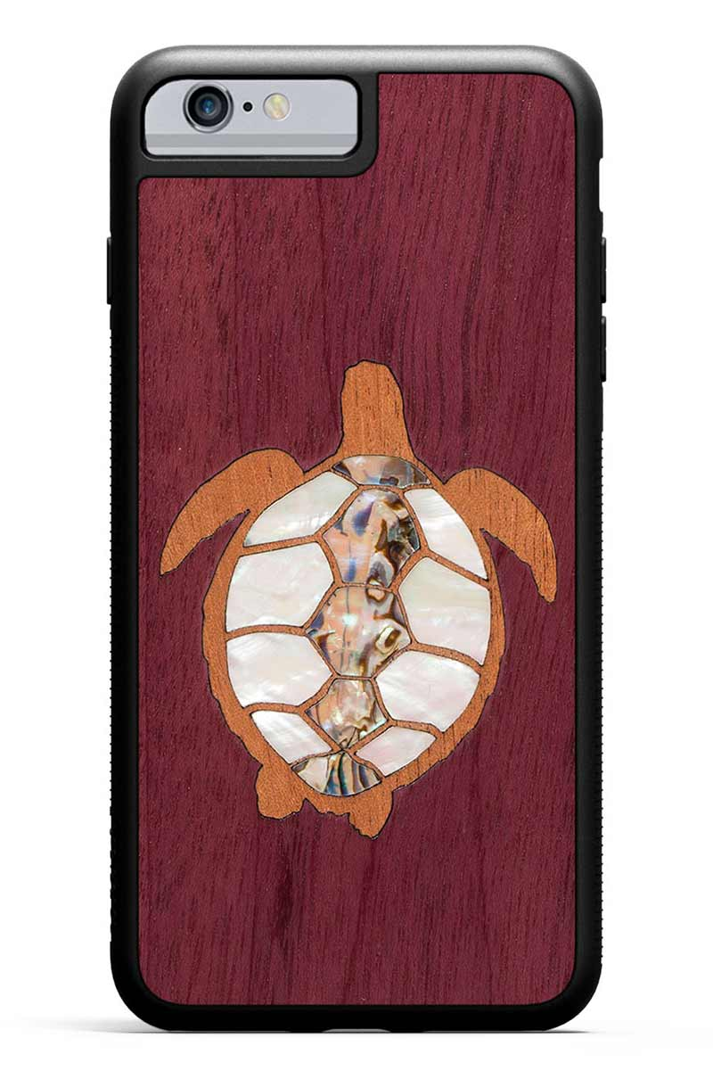 iPhone 6s Plus - Turtle Inlay - Black Traveler Protective Seashell Case
