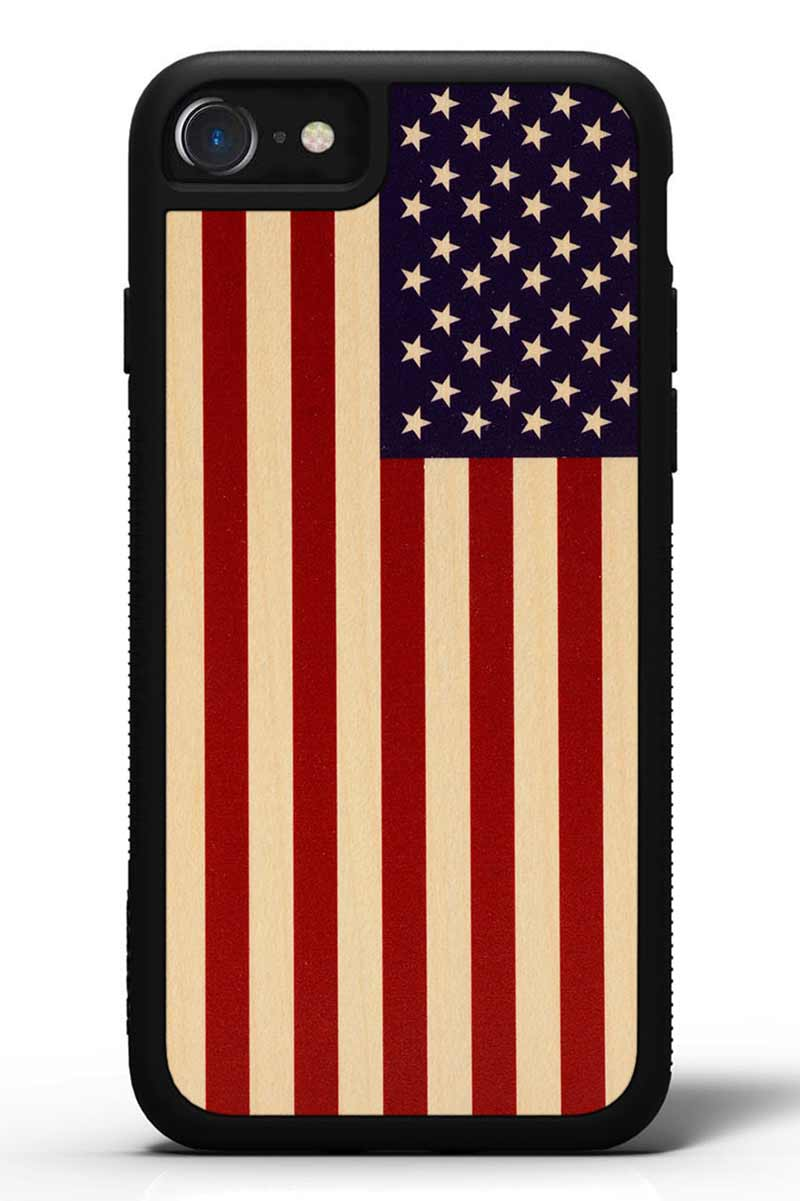 iPhone 7 - USA Flag - Black Traveler Protective Wood Case