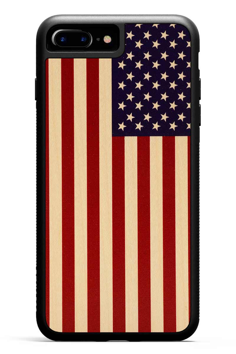 iPhone 7 Plus - USA Flag - Black Traveler Protective Wood Case