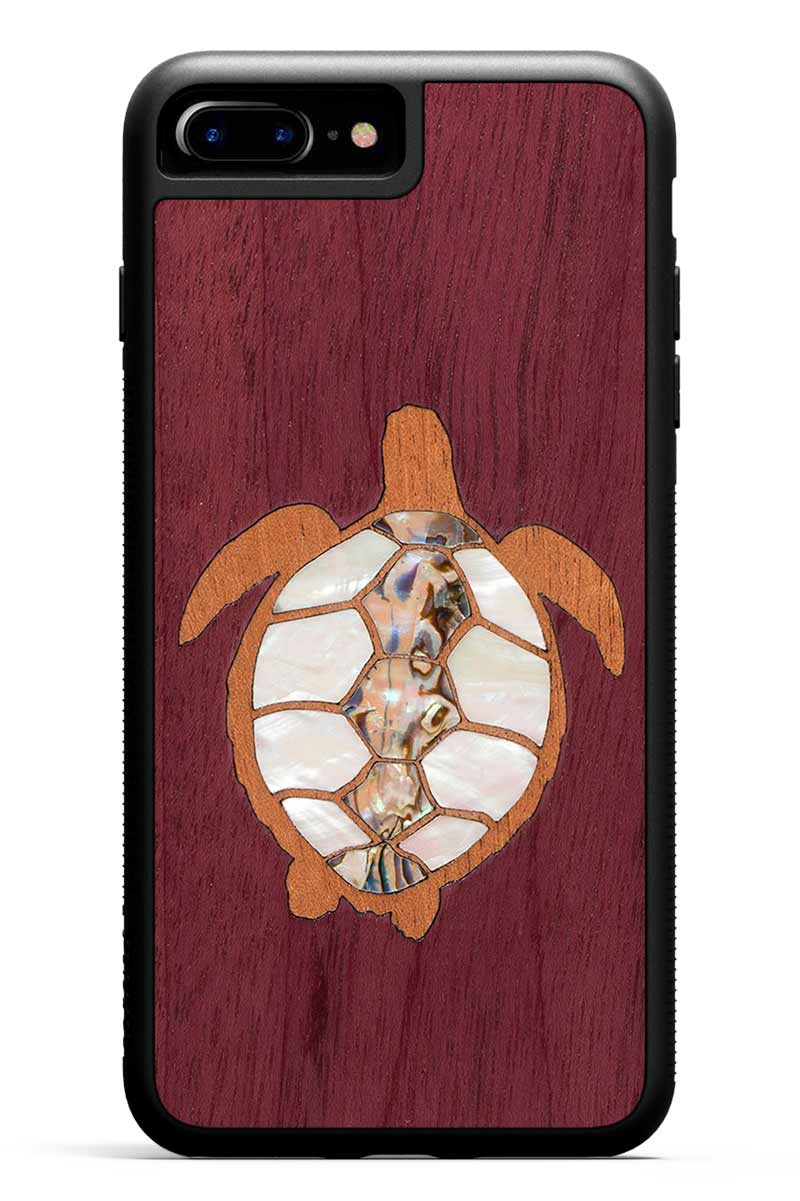 iPhone 7 Plus - Turtle Inlay - Black Traveler Protective Seashell Case