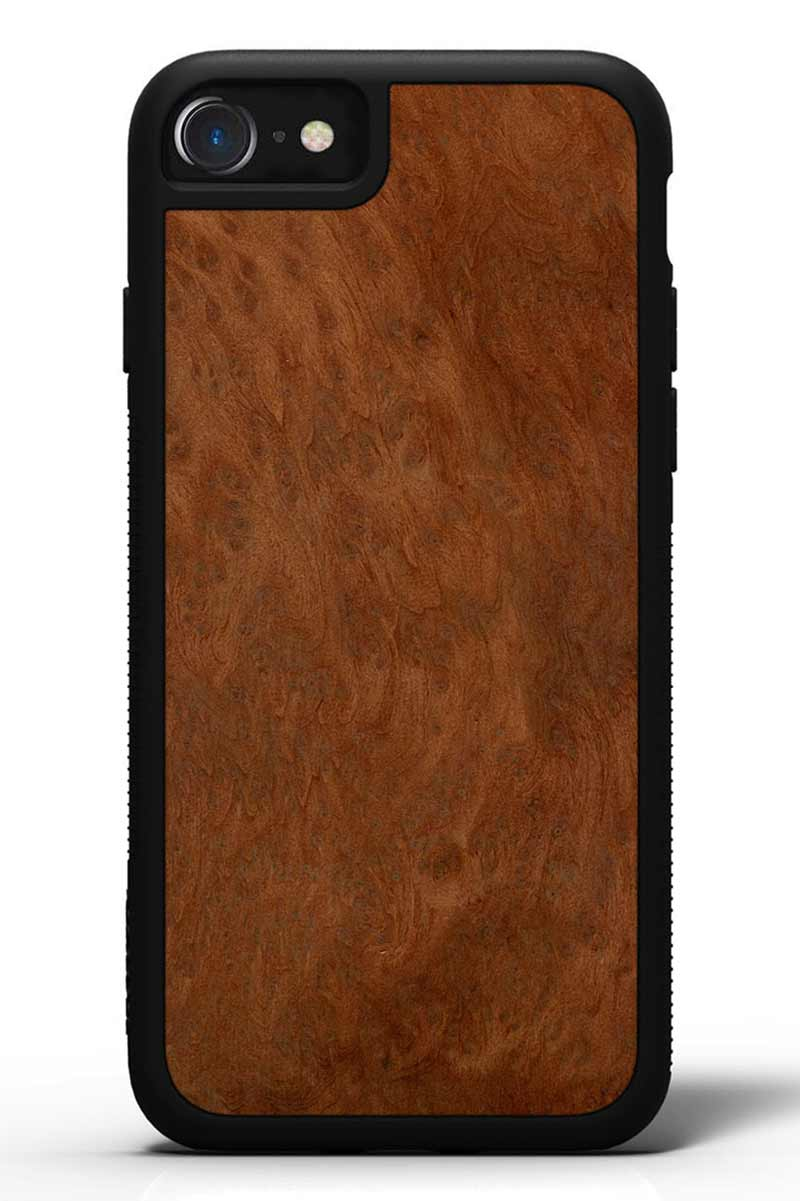 iPhone 8 - Redwood Burl - Black Traveler Protective Wood Case