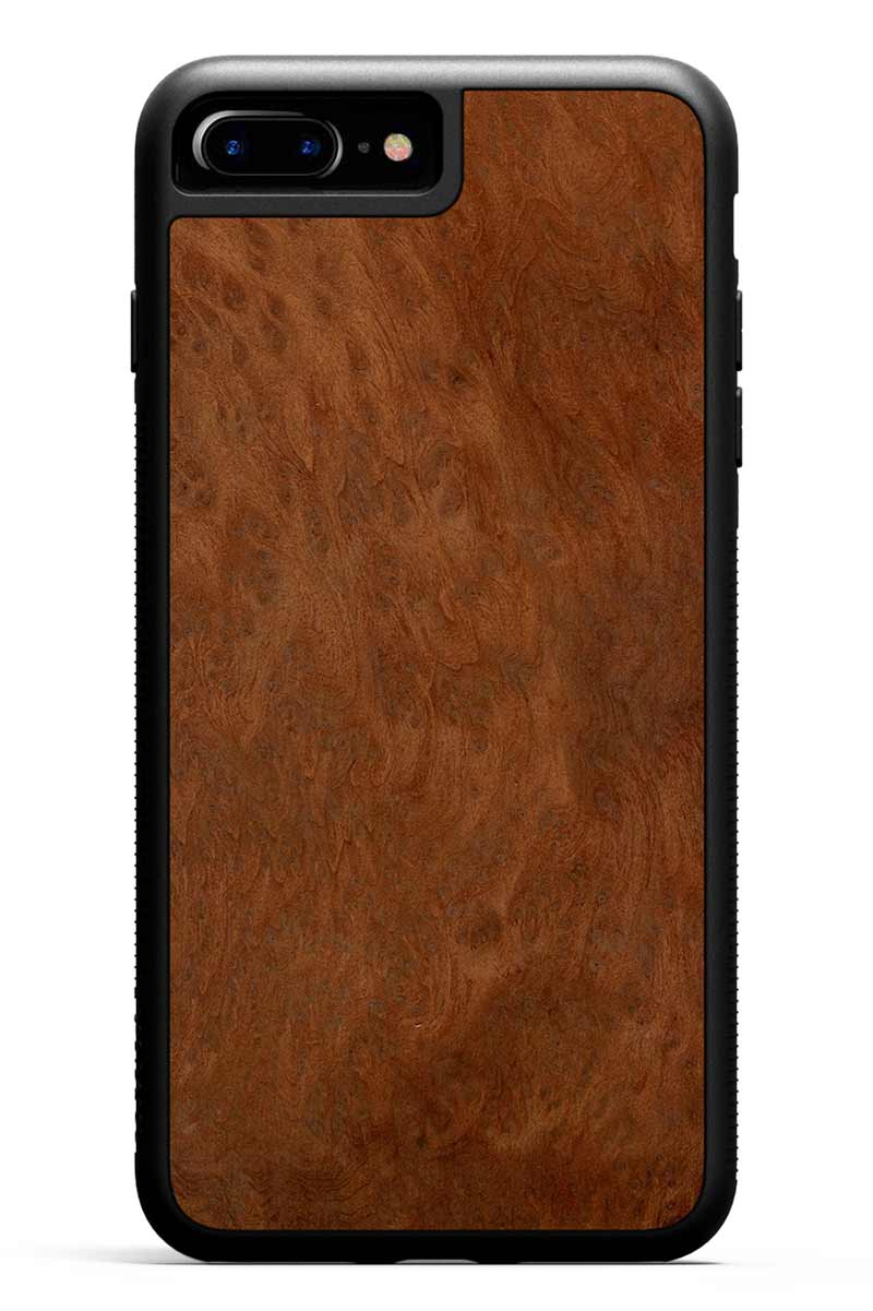 iPhone 8 Plus - Redwood Burl - Black Traveler Protective Wood Case
