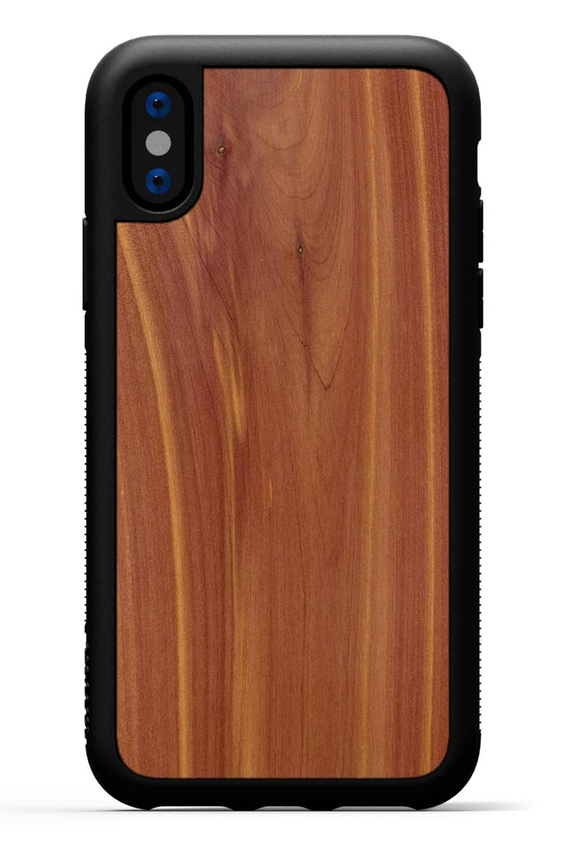iPhone X - Eastern Red Cedar - Black Traveler Protective Wood Case