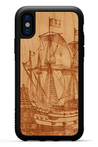 iPhone X - Galleon - Black Traveler Protective Wood Case