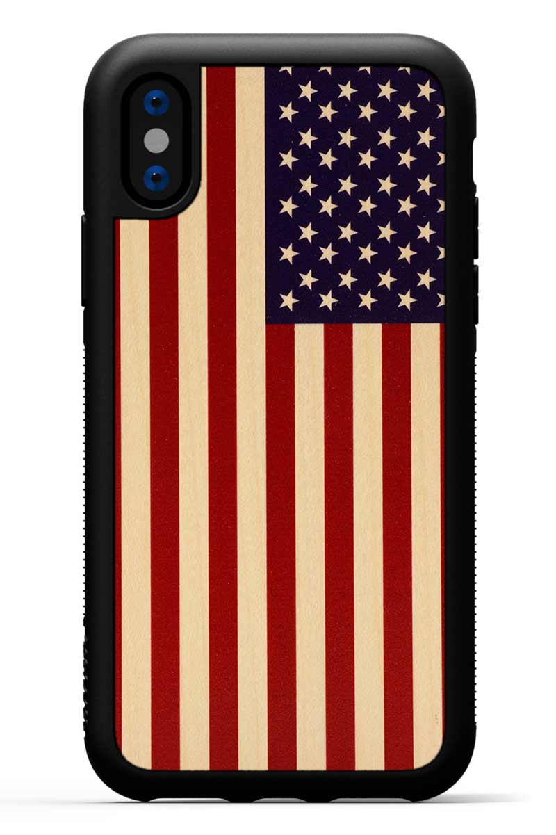 iPhone X - USA Flag - Black Traveler Protective Wood Case