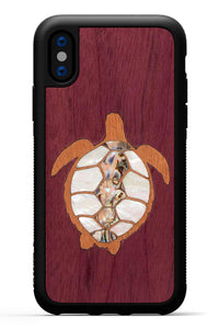 iPhone X - Turtle Inlay - Black Traveler Protective Seashell Case