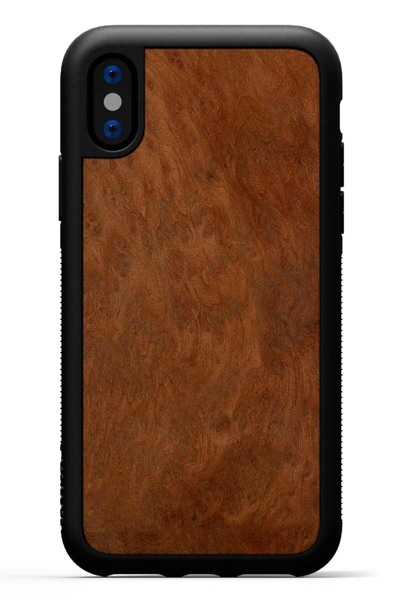 iPhone X - Redwood Burl - Black Traveler Protective Wood Case