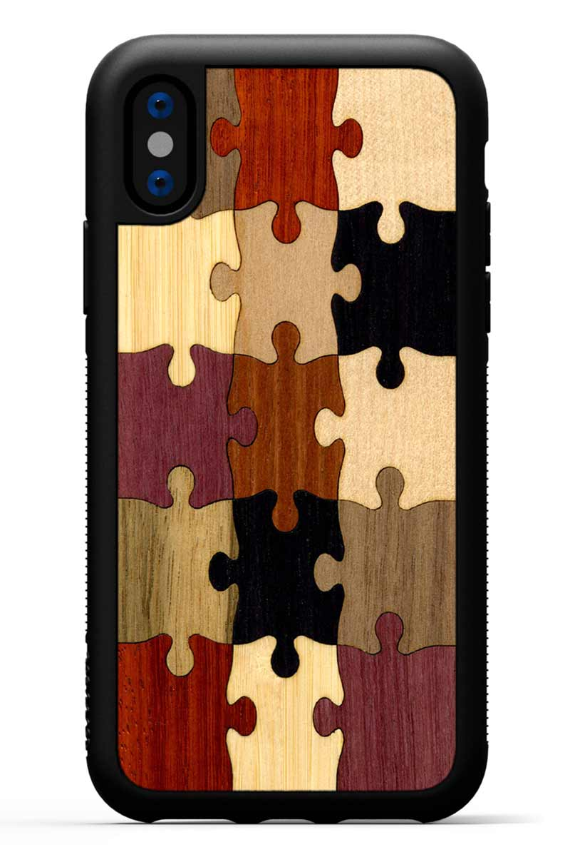 iPhone X - Random Puzzle Inlay - Black Traveler Protective Wood Case