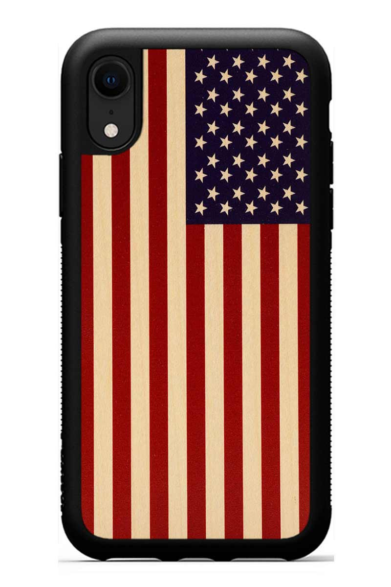 iPhone XR - USA Flag - Black Traveler Protective Wood Case