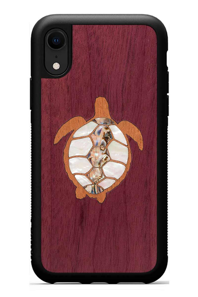 iPhone XR - Turtle Inlay - Black Traveler Protective Seashell Case