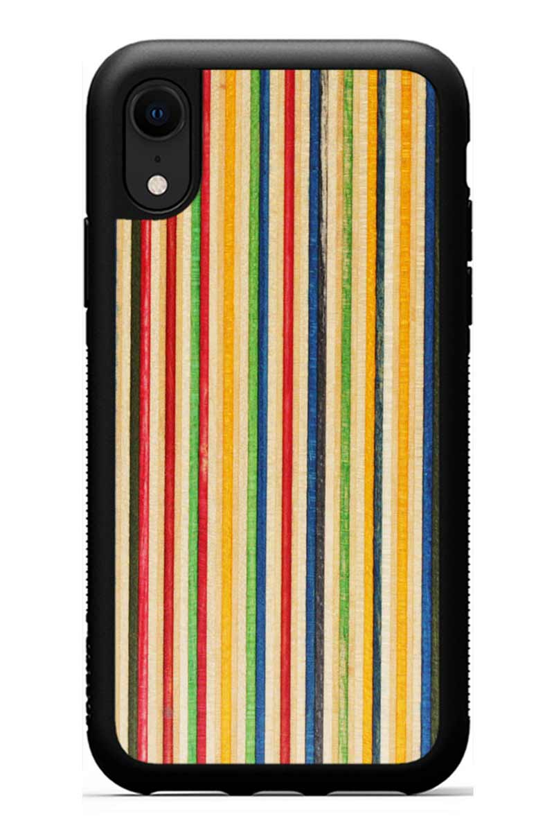 iPhone XR - Recycled Skateboard - Black Traveler Protective Wood Case