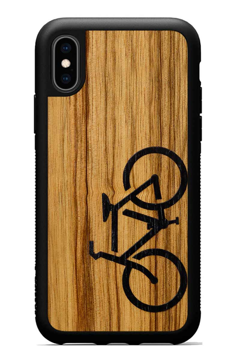 iPhone Xs - Bicycle Inlay - Black Traveler Protective Wood Case