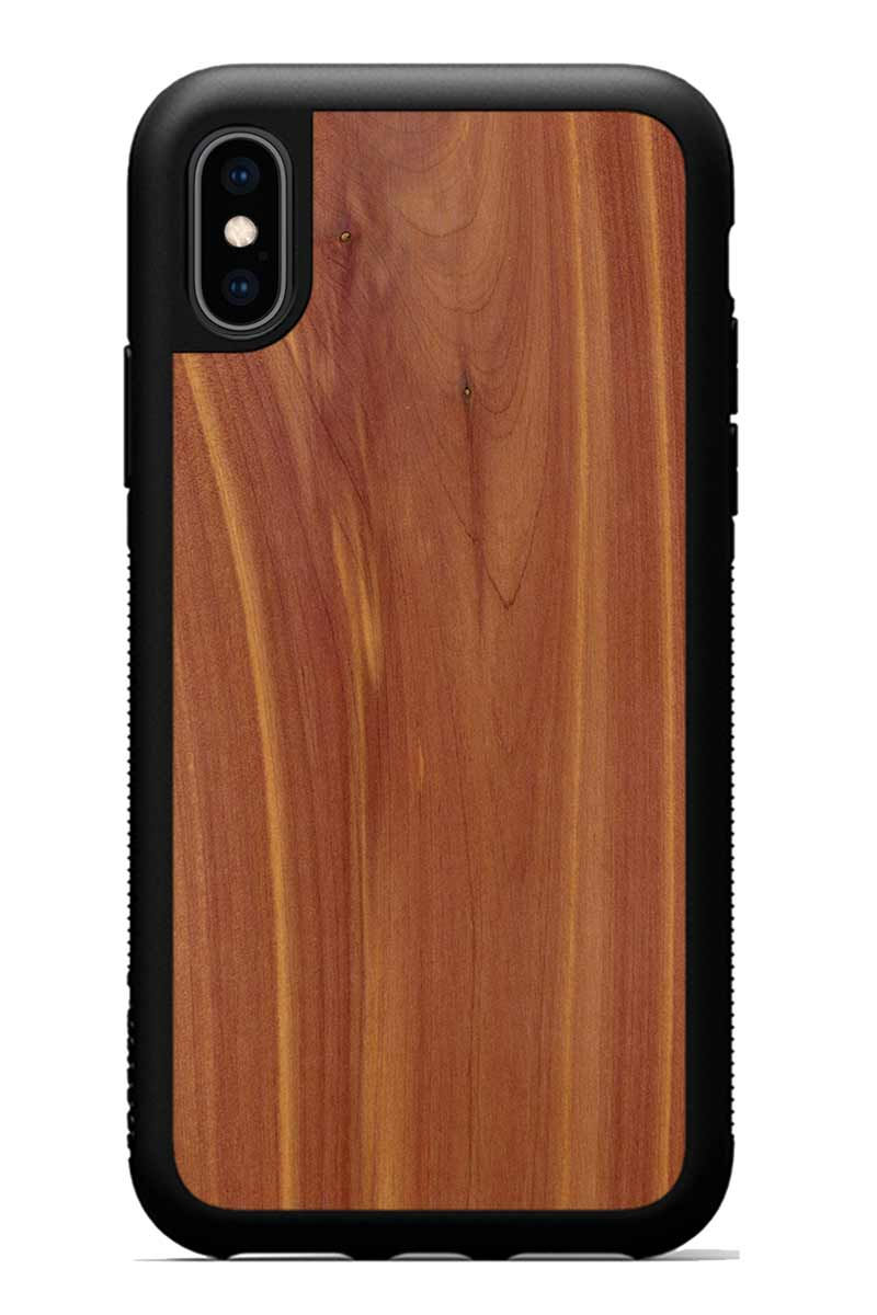 iPhone Xs - Eastern Red Cedar - Black Traveler Protective Wood Case