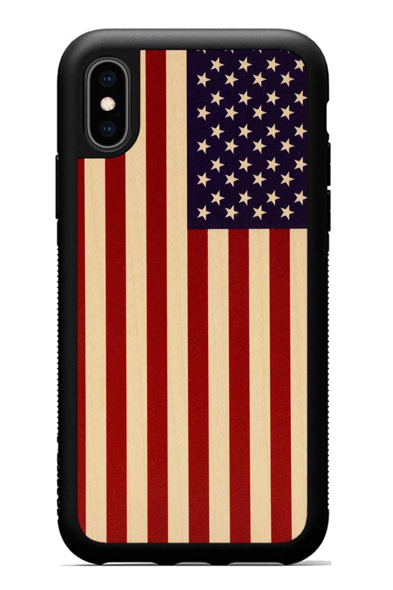 iPhone Xs - USA Flag - Black Traveler Protective Wood Case