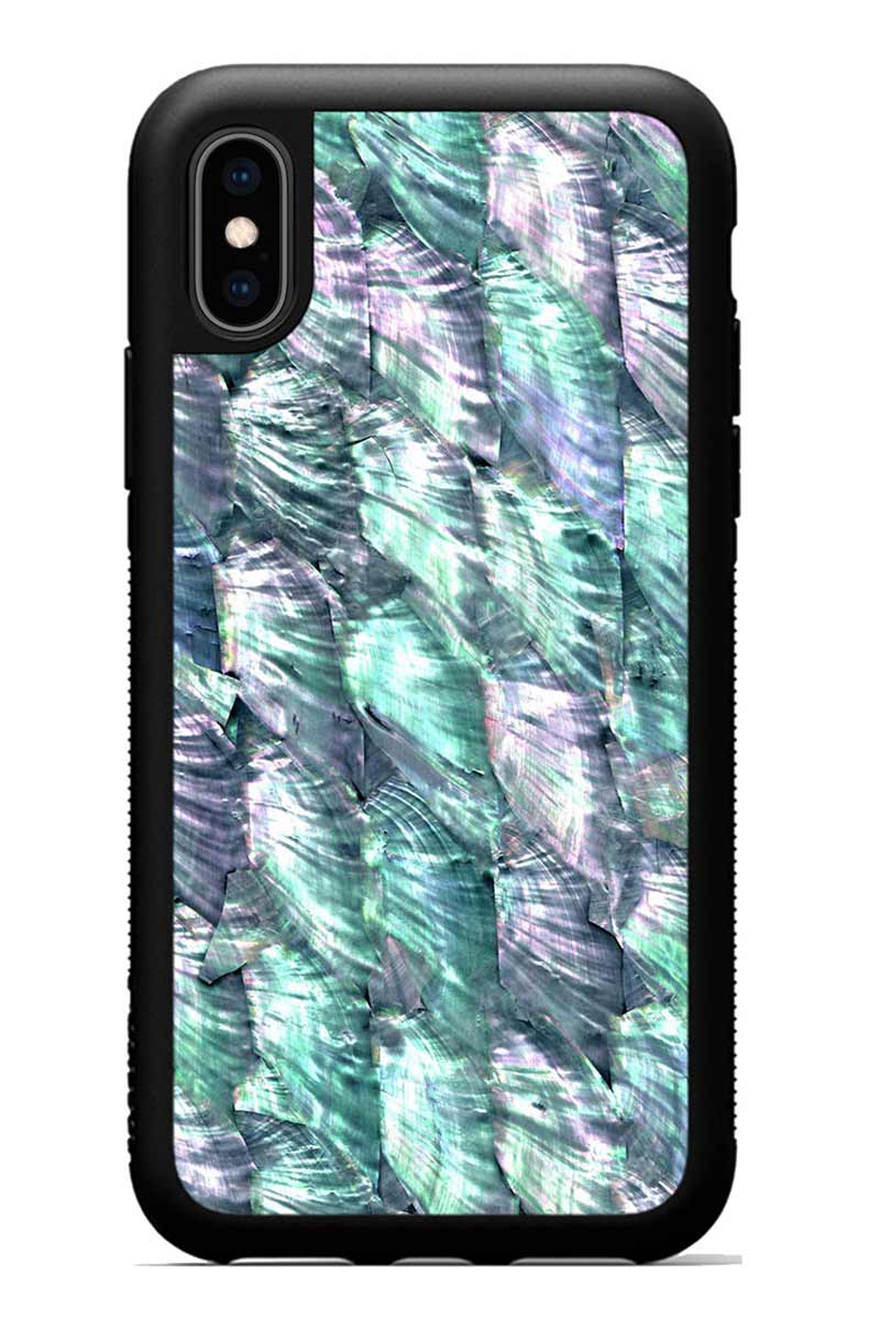 iPhone Xs - Mermaid Scallop - Black Traveler Protective Wood Case