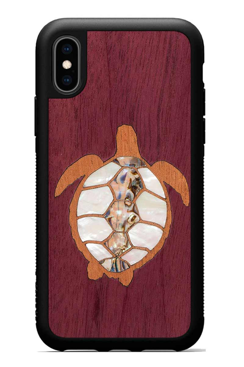 iPhone Xs - Turtle Inlay - Black Traveler Protective Seashell Case