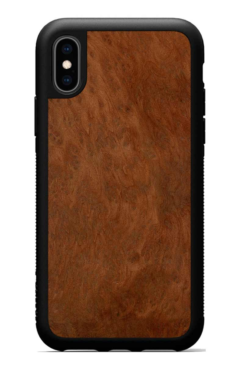 iPhone Xs - Redwood Burl - Black Traveler Protective Wood Case