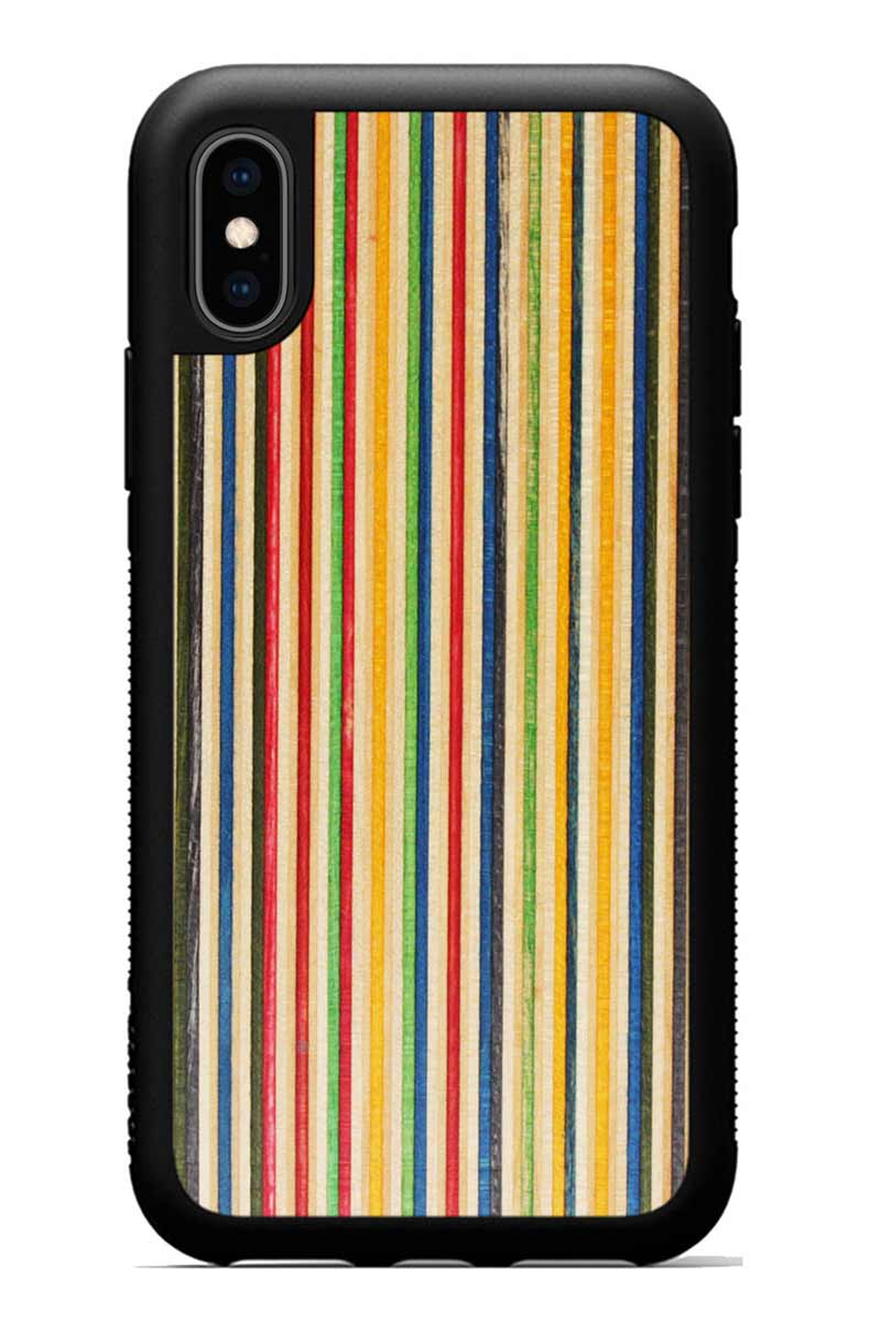 iPhone Xs - Recycled Skateboard - Black Traveler Protective Wood Case