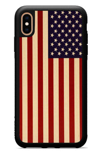 iPhone Xs Max - USA Flag - Black Traveler Protective Wood Case