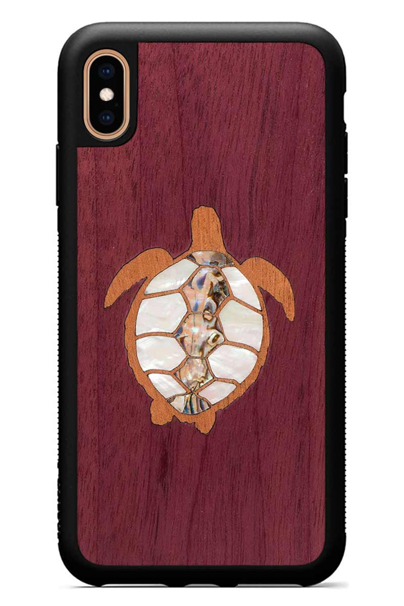 iPhone Xs Max - Turtle Inlay - Black Traveler Protective Seashell Case
