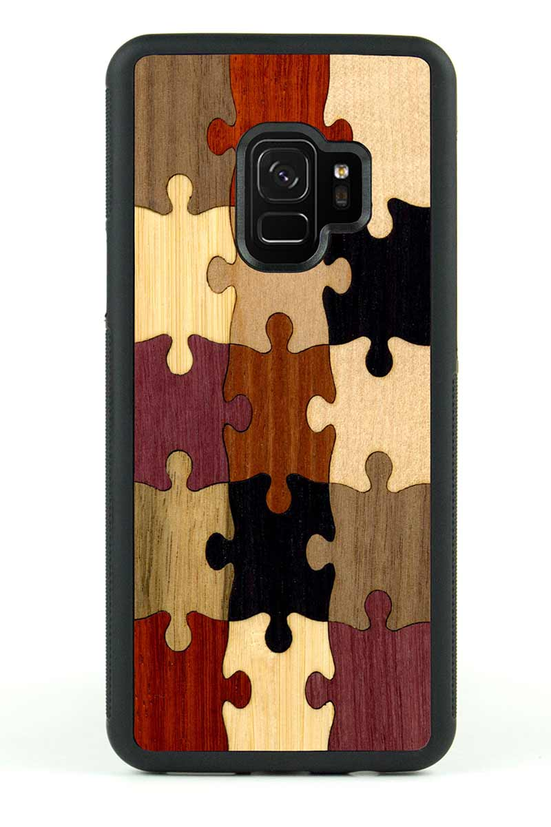 Galaxy S9 - Random Puzzle Inlay - Black Traveler Protective Wood Case