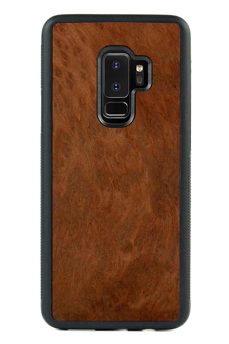 Galaxy S9 Plus - Redwood Burl - Black Traveler Protective Wood Case