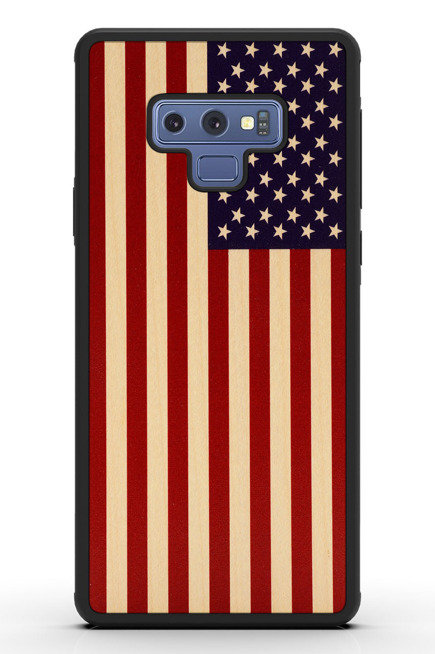Galaxy Note 9 - USA Flag - Black Traveler Protective Wood Case