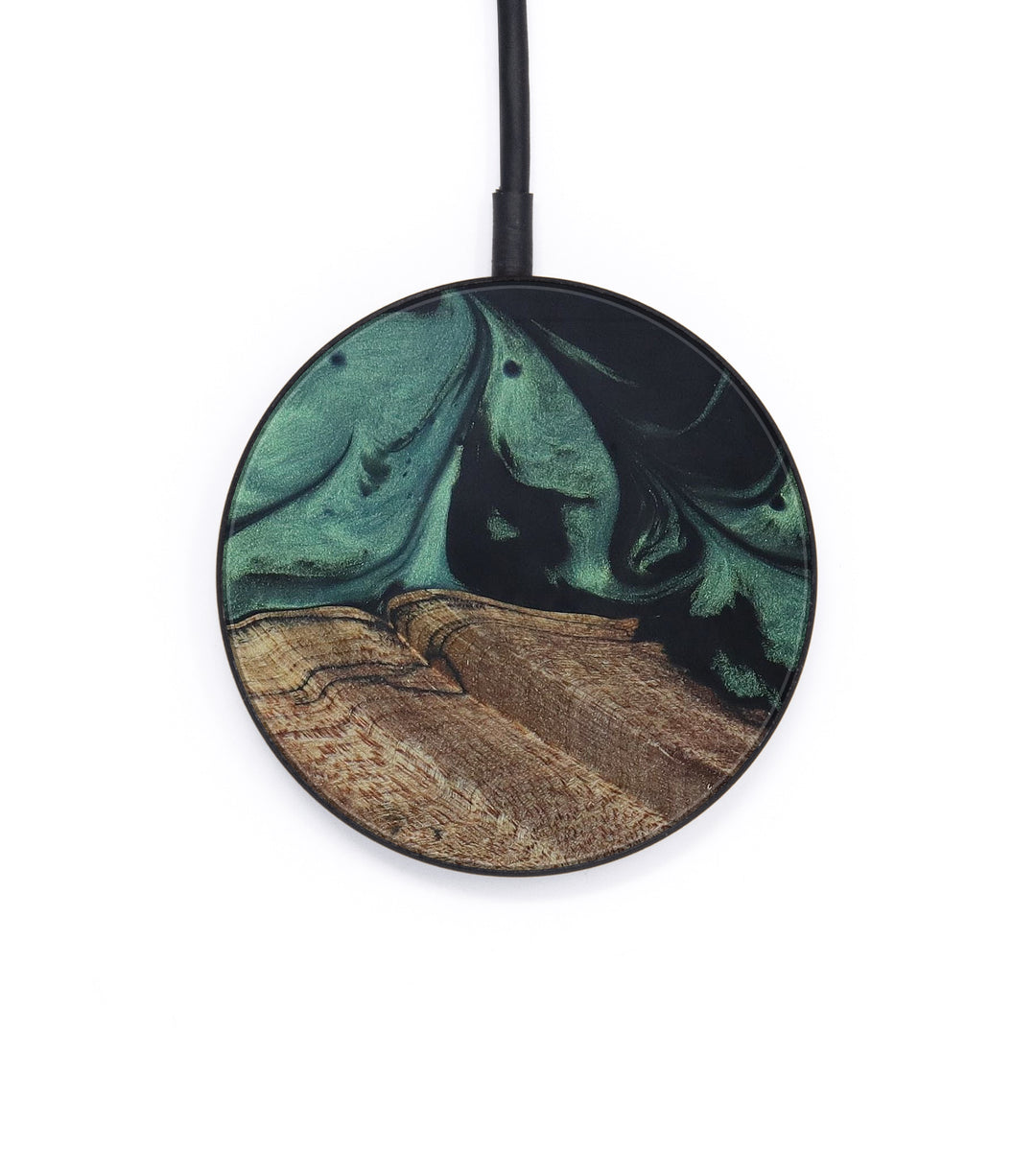 Circle Wood+Resin Wireless Charger - Bridgette (Dark Green, 420311)