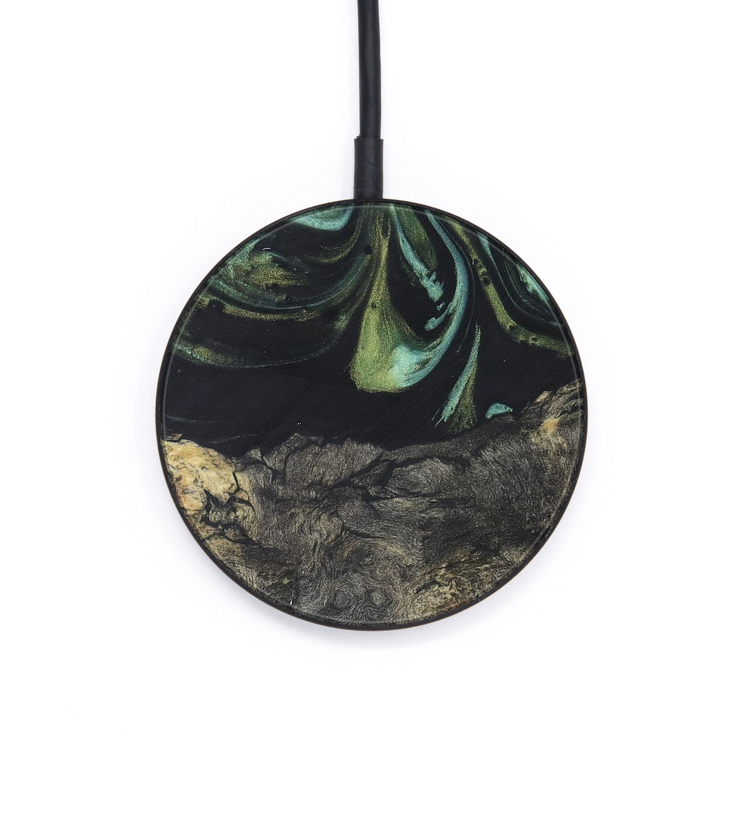 Circle Wood+Resin Wireless Charger - Benedikta (Dark Green, 403127)