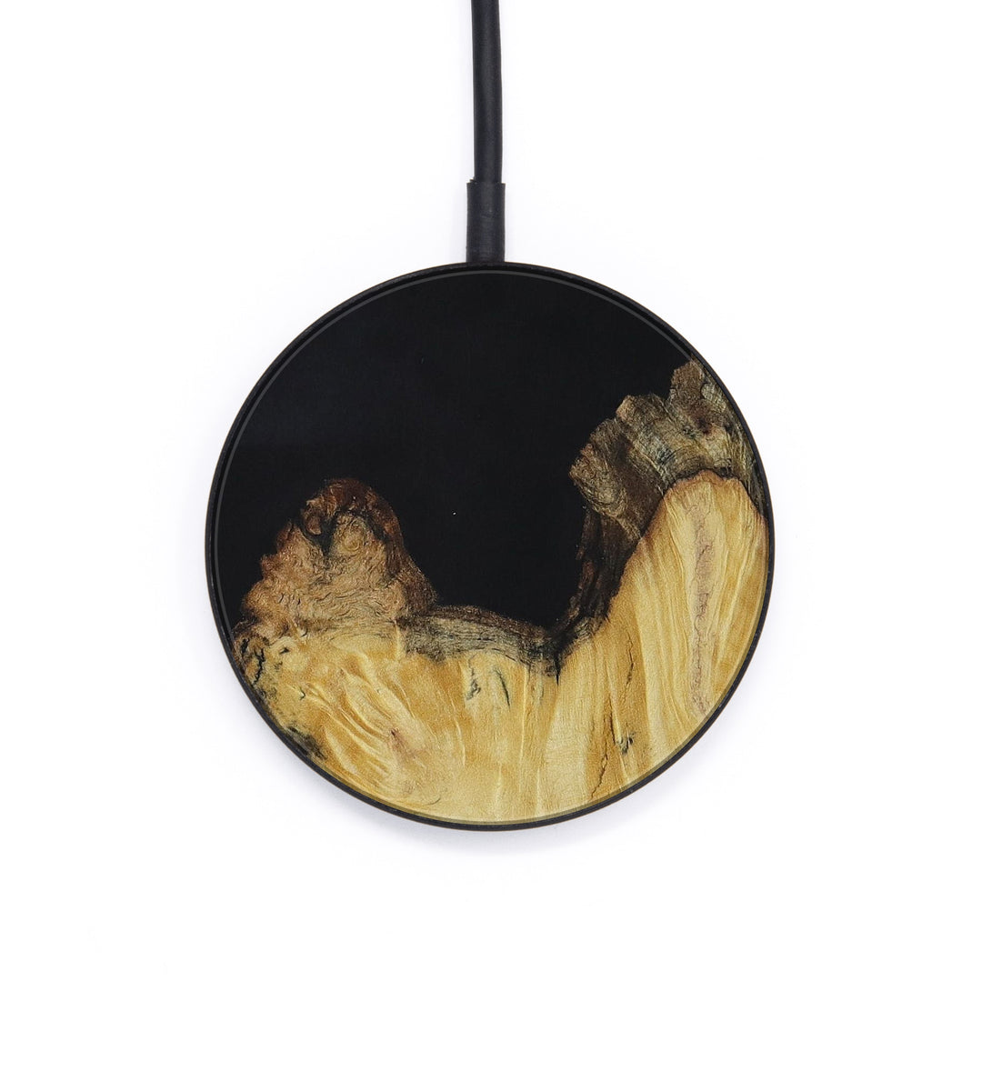 Circle Wood+Resin Wireless Charger - Bell (Pure Black, 395172)