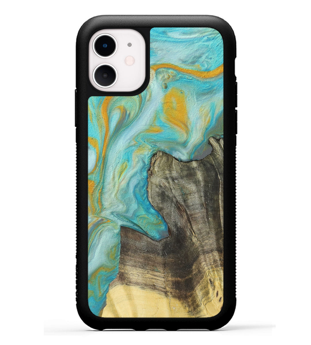 iPhone 11 Wood+Resin Phone Case - Tresrch (Teal & Gold, 349174)
