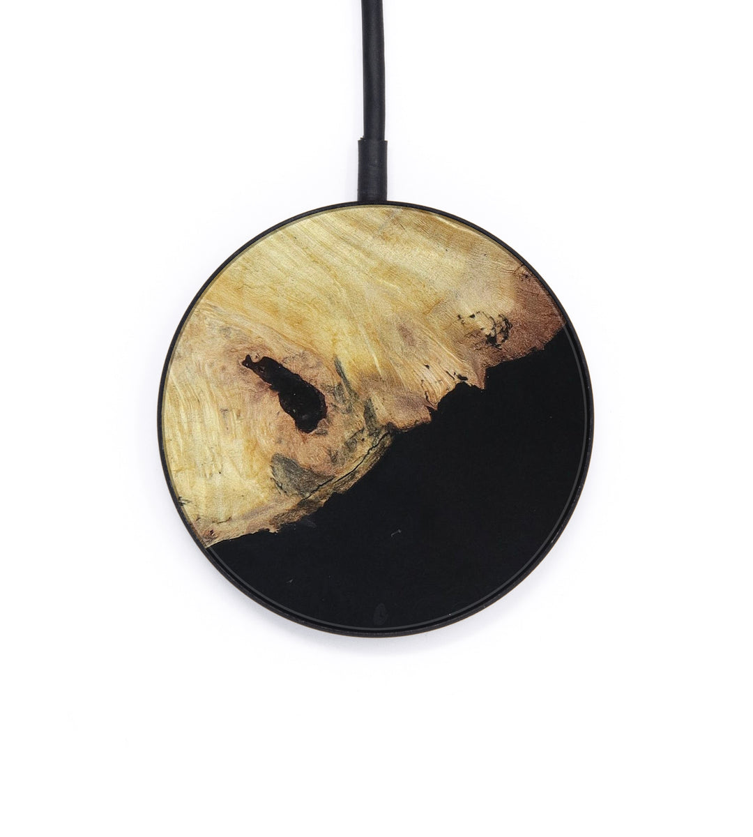 Circle Wood+Resin Wireless Charger - Mallory (Pure Black, 395353)
